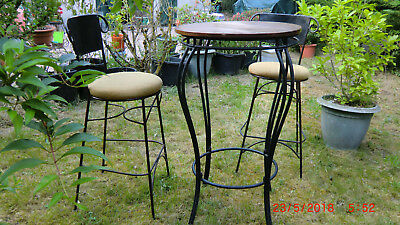 DESIGN KIT DE BISTRO TABLE HAUTE EN METAL ET 2 CHAISES MEUBLE DE JARDIN PATIO