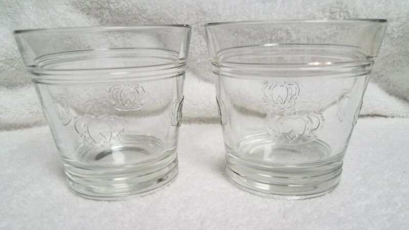 Vintage Crown Royal Canadian Whisky Rocks Lowball Glasses Crowns Italy Lot of 2