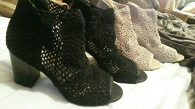 Jessica Simpson black and brown tweed bootie sandle shoes 12