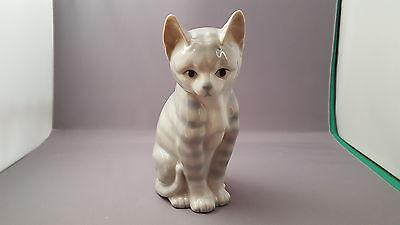 "Vintage Otagiri Porcelain Japan Sitting Tabby Cat 6"" Tall"