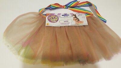 Rainbow Dog Tutu Skirt Size M L Tulle Pet Cat Puppy Doll Costume Circus Pride