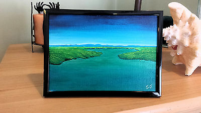 """Framed 5""""x7"""" Original Acrylic Lanscape Painting: Cape Cod Inlet"""