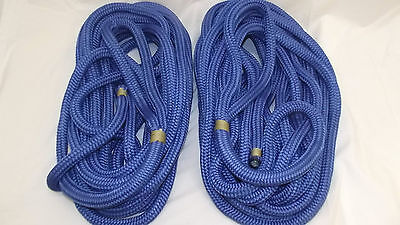 "NEW Pair (2) 3/4"" x 30' Double Braid Nylon Dock Line, Mooring, Anchor Rope, Boat"