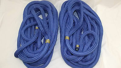 "NEW Pair (2) 3/4"" x 35' Double Braid Nylon Dock Line, Mooring, Anchor Rope, Boat"