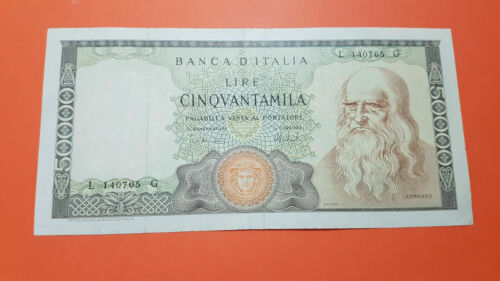 Banconota 50000 Lire Leonardo  1967 in very fine condition