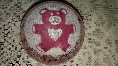 Caithness teddy bear. Pink glass crystal precious moments paperweight. Signed.
