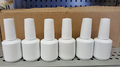 Empty Nail Polish Bottle 1/2oz - White Coated with Brush & Cap,  Lot of 6
