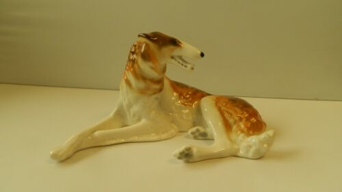 RARE RUSSIAN BORZOI PORCELAIN VINTAGE GREYHOUND DOG FIGURINE