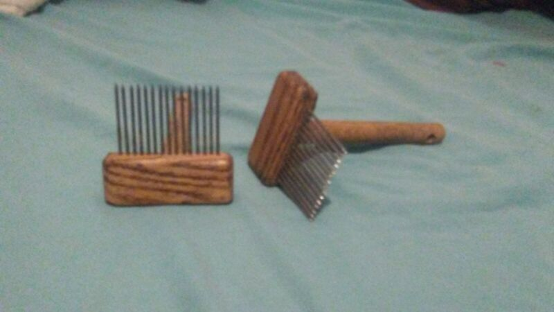 "handmade oak wool carding combs 3/16"" spaced tines, 2"" long"