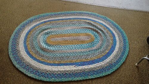 "Vintage Antique Hand Handmade Braided Rug 48"" x 65"" Oval Multi Color #3"