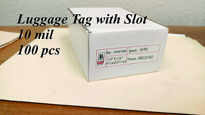 Luggage Tag 10 Mil With Slots 100 Pcs Free Shipping Laminating Pouches.