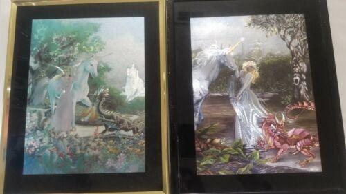 2 Reflective Foil Art Prints- Princess, Unicorn, and Dragon