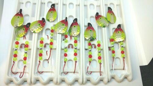10 Walleye, Crawler Harness, #3 Colorado blade, Clown color.