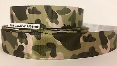 Grosgrain Ribbon, Green Camo, Camouflage Outdoor Sports Country Strong , 1