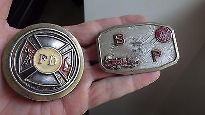 Mens Vintage FIRE DEPARTMENT  FD   BELT BUCKLE EMT BELT TWO  BUCKLES