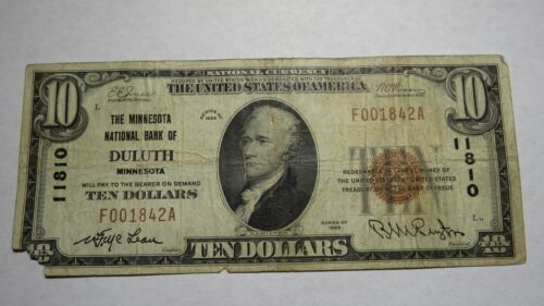 $10 1929 Duluth Minnesota MN National Currency Bank Note Bill! Ch. #11810 RARE!