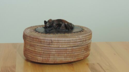 Vintage Indonesian Handmade Wood Carved Alligator Rattan Basket 40 years old