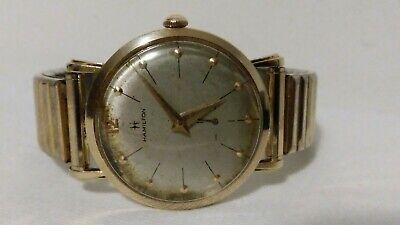 Vintage 1960's Mens Hamilton 14K solid Gold wind up Watch runs