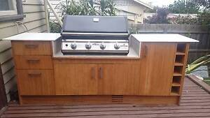 Bamboo outdoor kitchen with BBQ and stone benchtop Pascoe Vale South Moreland Area Preview