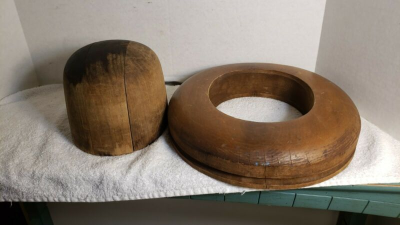 Antique Or Vintage Millinery 2 Piece Wooden Hat Block Form Mold
