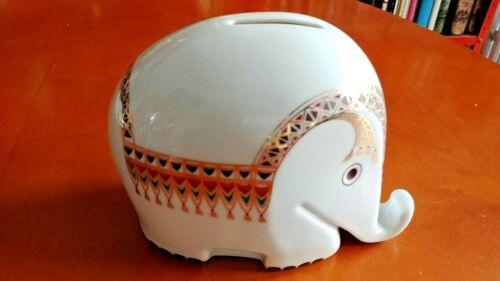 HOECHST Porcelain Elephant Piggy Bank W/KEY Luigi Colani MCM DRESDNER BANK