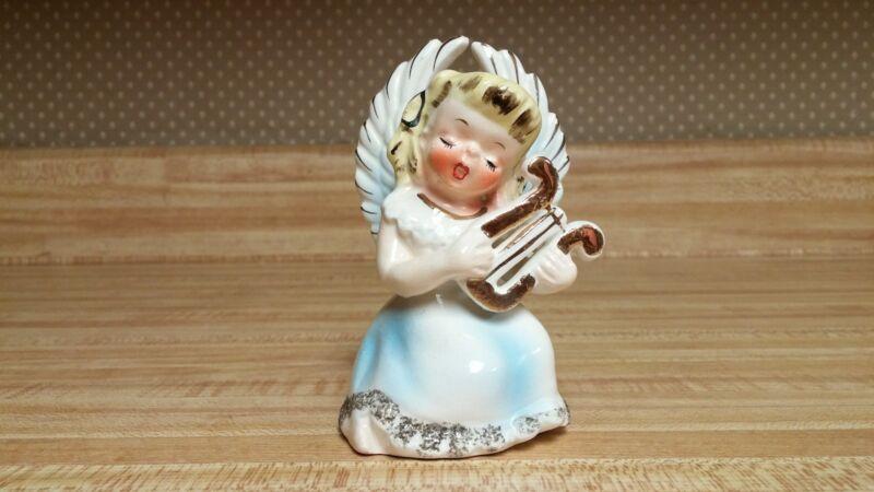 VTG Norcrest P728 blonde angel girl playing harp; blue highlights dress/wings