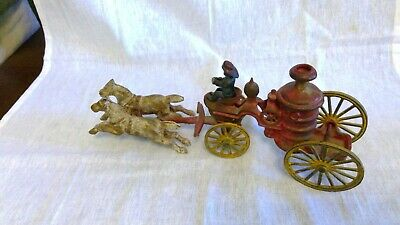 Antique Die Cast Iron toy Fire Truck with Driver & Horses