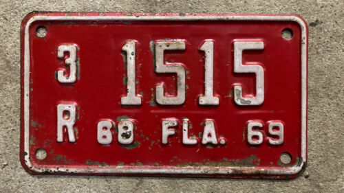 1968 Florida motorcycle license plate 3R1515 Hillsborough County YOM DMV 1969