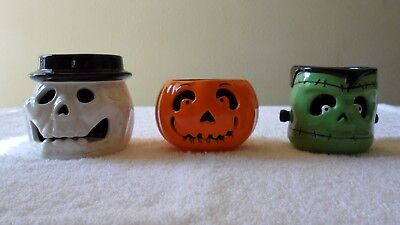 BATH & BODY WORKS SLATKIN HALLOWEEN TEA LIGHT CANDLE HOLDERS SET OF THREE NOS - Halloween Tea Light Holders