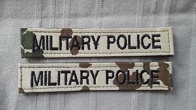 Namenstreifen MILITARY POLICE schwarz auf wüstentarn / tropentarn 2 Stück/Klett ()