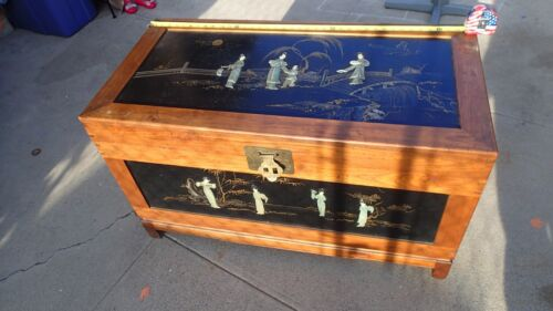Vintage antique Chinese Korean Wood Chest inlaid inlay