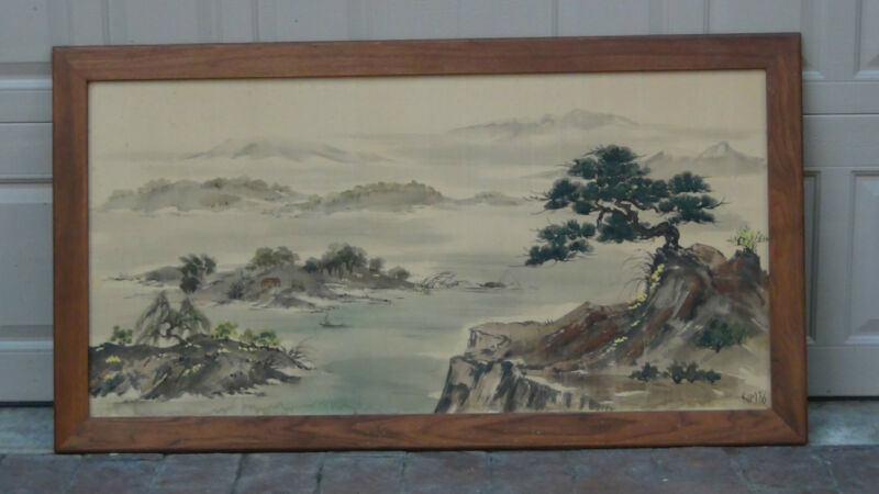 "CHINESE LARGE  WATERCOLOR PAINTING ON SILK SIGNED ""KIM"