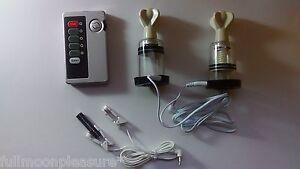 ELECTROSEX ESTIM TENS 2 CONDUCTIVE TWIST SUCTION CUPS AND UNIT SET !UK SELLER