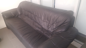 Black 3 seater leather couch St Leonards Willoughby Area Preview