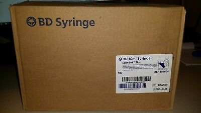 100 Bd 309604 Luer-lok Tip Syringes 10ml Surgical Medical Nurse Training Vet Lab