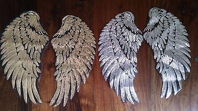 Aufnäher große silberne / goldene Flügel mit Pailletten Patches Federn Engel DIY (Engelsflügel Mit Federn)