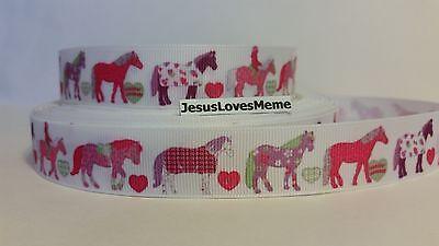 Grosgrain Ribbon, Patchwork Horses & Hearts, Horse Blankets, Quarter Horse, 7/8