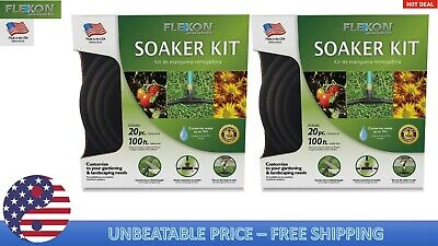 Pack 2 FLEXON Soaker Kit 3/8-in X 100-ft Medium-Duty Black Soaker Hose 250 PSI