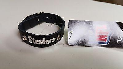 (Pittsburgh Steelers Black Ladies Leather Buckle Bracelet bling Fashion Belt NFL)