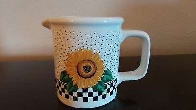 Tabletops Unlimited Sunny Creamer Sunflower Checked Border