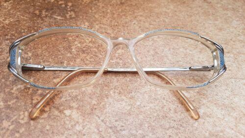 INTER 2082 Damen Sekretärin Brillengestell Transparent Gold  Blau Vintage 52-15-