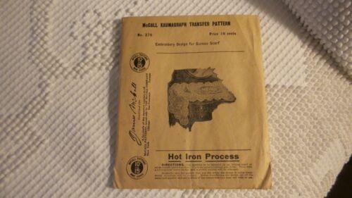 Antique MCCALL KAUMAGRAPH TRANSFER PATTERN #276 Bureau Scarf Hot Iron Process