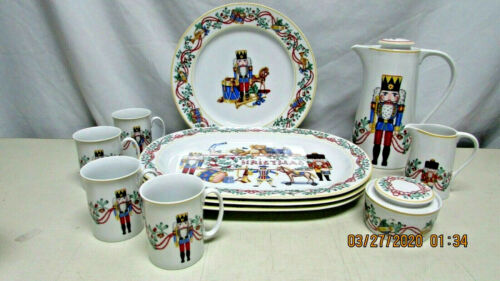 Block Spal 1992 Whimsy Christmas Nutcracker 11pc Serving Set - Portugal