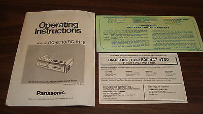 Warranty & Operating Instruction only for Panasonic Clock Radio RC-6110/RC-6115