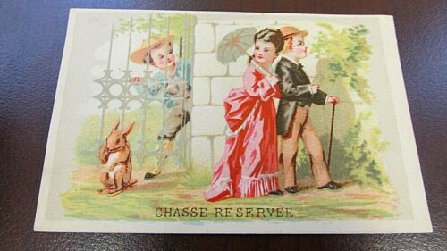 RARE 1880s BROOKS COSMOPOLITAN Chasse Reservee Trade Card -Excellent Condition
