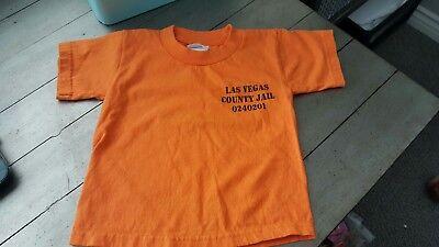LAS VEGAS COUNTY JAIL  SHIRT Toddler XS size  2 SIDED ORANGE TEE EUC costume - Toddler Jail Costume