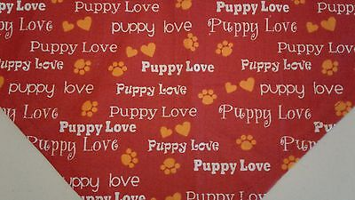 Dog Bandana Puppy Love Red Paw Prints Custom Made by Linda XS S M L](Red Paw)