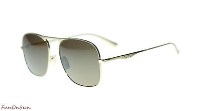 f8abb4bf32adc NEW Gucci Sunglasses GG0335S 001 Gold Brown Lens Square 58mm Authentic