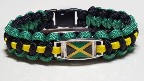 Jamaica Flag Handmade Custom Sized Paracord Bracelet made in USA
