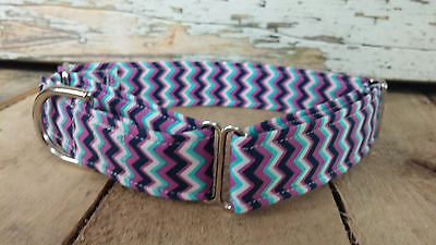 Purple Chevron designer dog collar, martingale collar with leash set - Designer Dog Collar Martingale